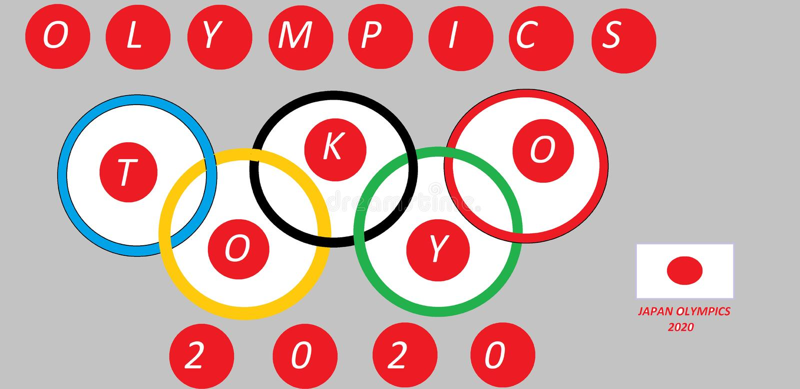 Het vlaggeschip van Japan wordt samengevoegd met olympics ringen 2020 stock illustratie