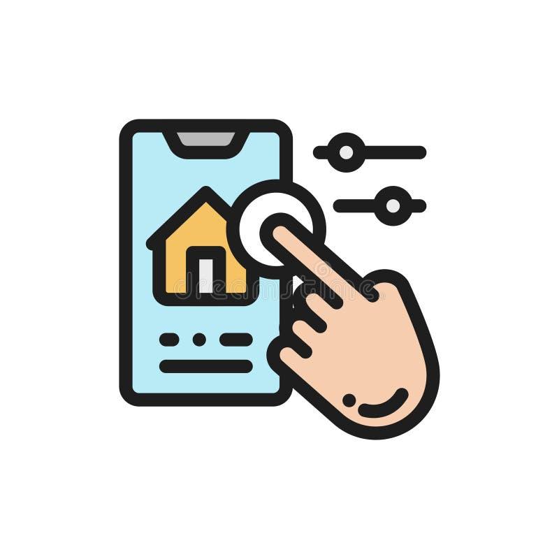 Het vlakke beheer van het pictogram slimme huis Editableslag vector illustratie