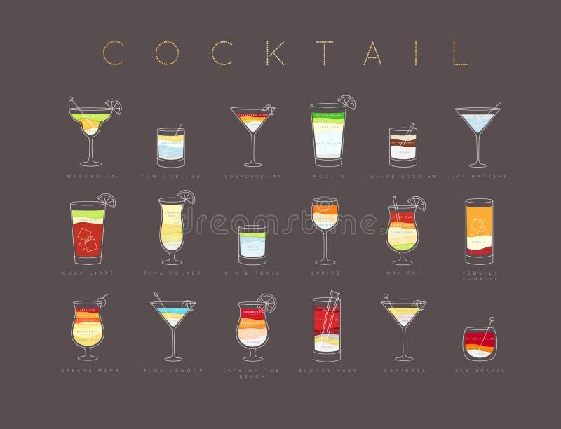 Het vlakke bruine menu van affichecocktails stock illustratie