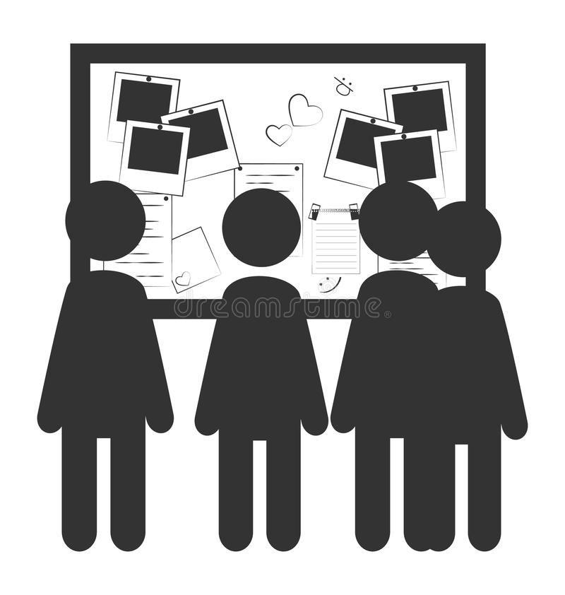 Het vlakke collectieve die pictogram van het informatiebureau met werknemer op w wordt geïsoleerd stock illustratie