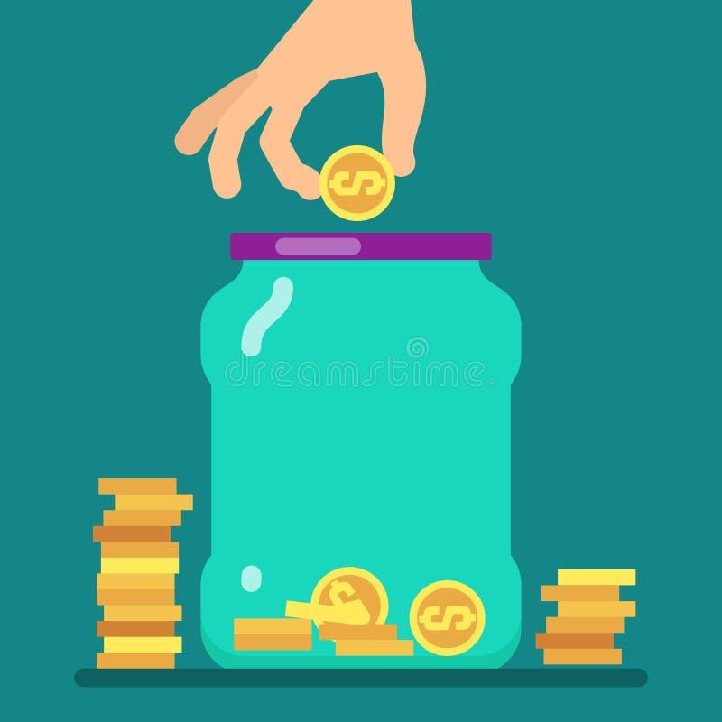 Het vlakke concept van de geldbesparing met gouden muntstukken en kruik vectorillustratie royalty-vrije illustratie
