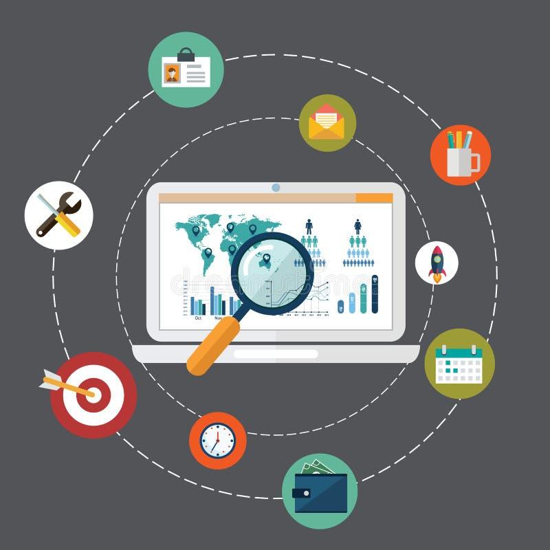 Het vlakke concept van de ontwerp moderne vectorillustratie het onderzoeksinformatie van websiteanalytics en de analyse die van g vector illustratie