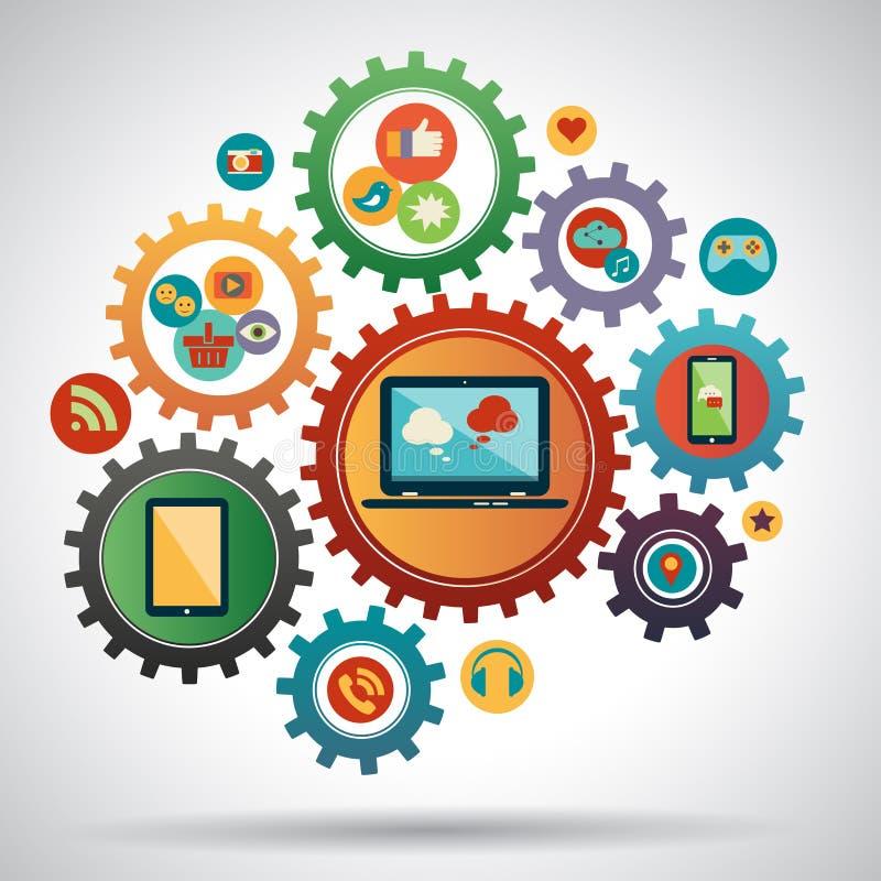 Het vlakke concept van de ontwerp moderne vectorillustratie sociale media stock illustratie
