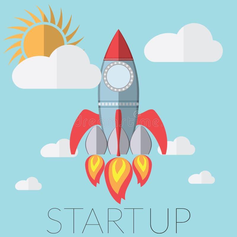 Het vlakke concept van de ontwerp moderne vectorillustratie voor nieuw bedrijfsprojectopstarten, die nieuw innovatieproduct, crea royalty-vrije illustratie