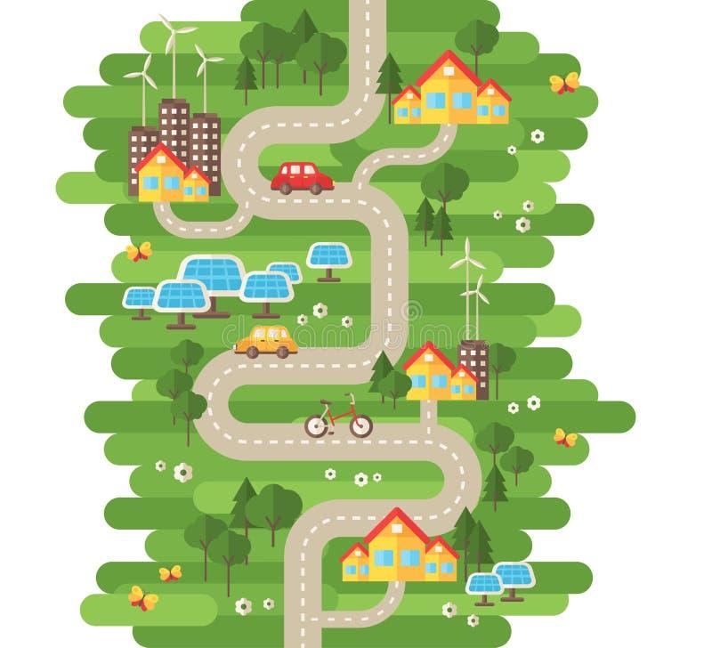 Het vlakke Concept van de Ontwerp Vectorillustratie Ecologie royalty-vrije illustratie