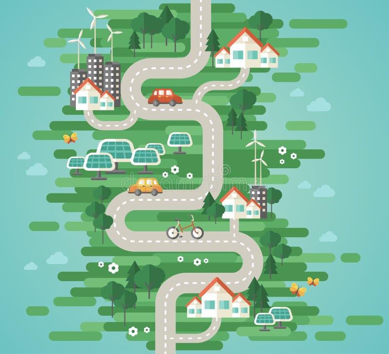 Het vlakke Concept van de Ontwerp Vectorillustratie Ecologie vector illustratie