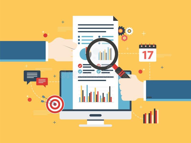 Het vlakke concept van de ontwerp vectorillustratie financiële investering, analytics met de groeirapport royalty-vrije illustratie