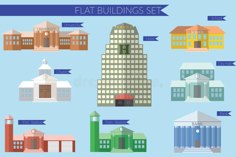 Het vlakke concept van de ontwerp vectorillustratie voor de bouw van geplaatste onderwijspictogrammen Universitaire brandweerkaze vector illustratie