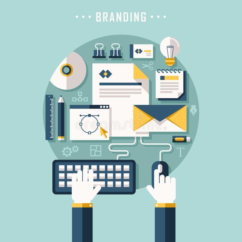 Het vlakke concept van de ontwerpillustratie het brandmerken stock illustratie