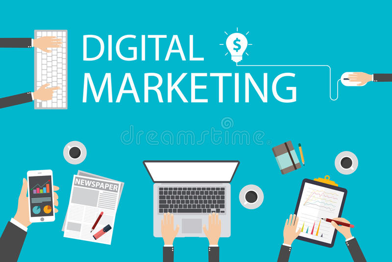 Het vlakke concept van de ontwerpillustratie voor digitale marketing Concept voor Webbanner stock illustratie
