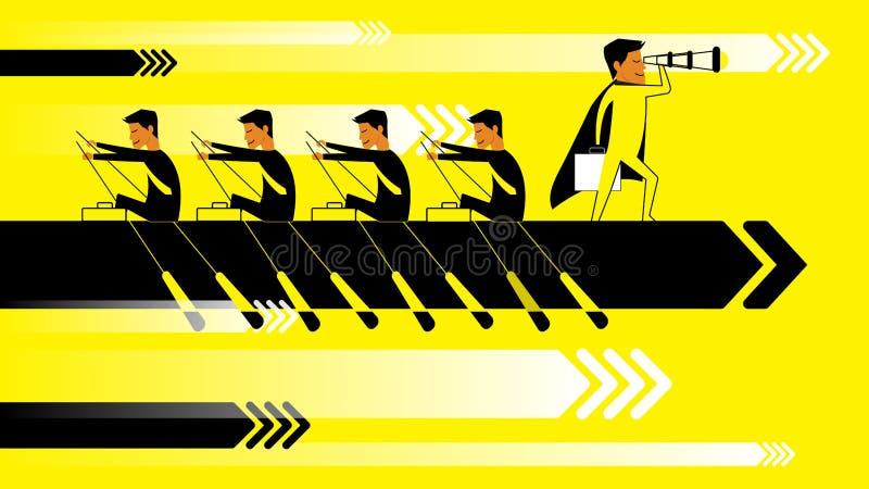 Het vlakke concept van de ontwerpillustratie voor opstarten van bedrijvensucces, het teamwerk, planning, projectleiding, strategi royalty-vrije illustratie