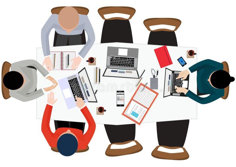 Het vlakke concept van de ontwerpillustratie voor werkende plaats op kantoor, werkruimte stock illustratie