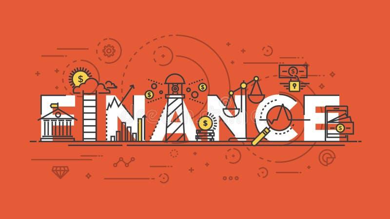 Het vlakke concept van de ontwerplijn - Financiën stock illustratie