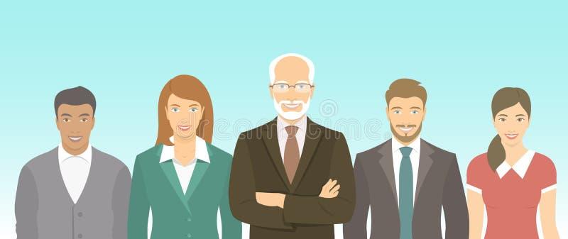 Het vlakke concept van het bedrijfsmensengroepswerk