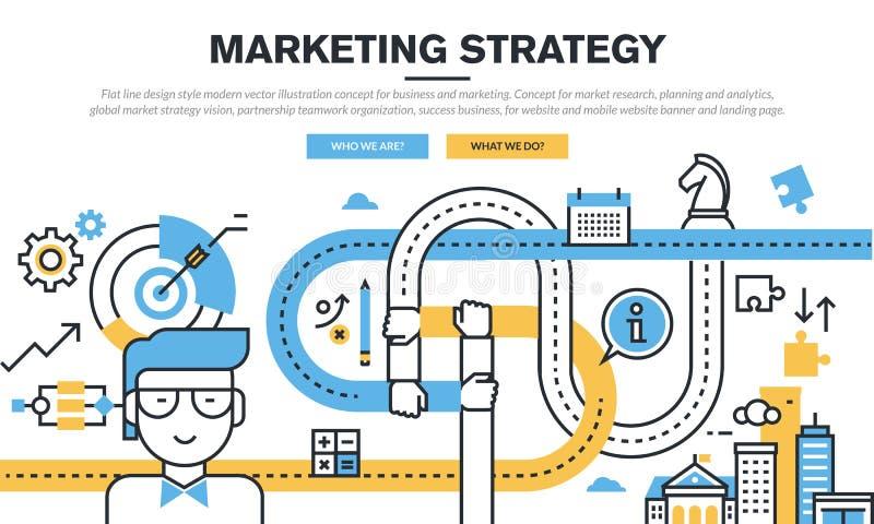 Het vlakke concept van het lijnontwerp voor zaken en marketing stock illustratie