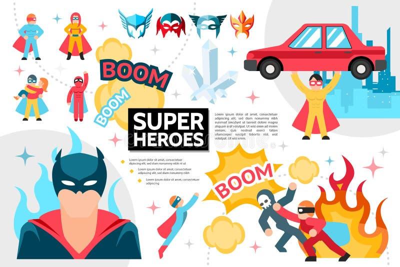 Het vlakke Concept van Superheroes Infographic royalty-vrije illustratie