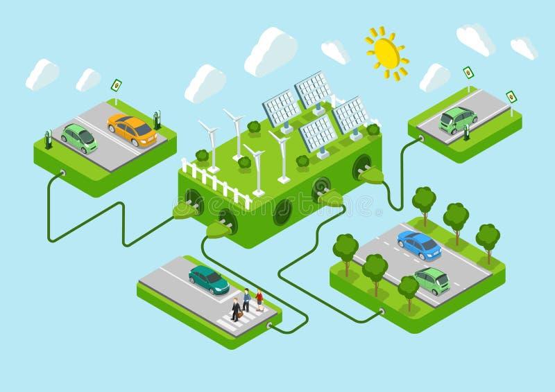 Het vlakke 3d concept van de eco groene energie van de Web isometrische elektrische auto royalty-vrije illustratie