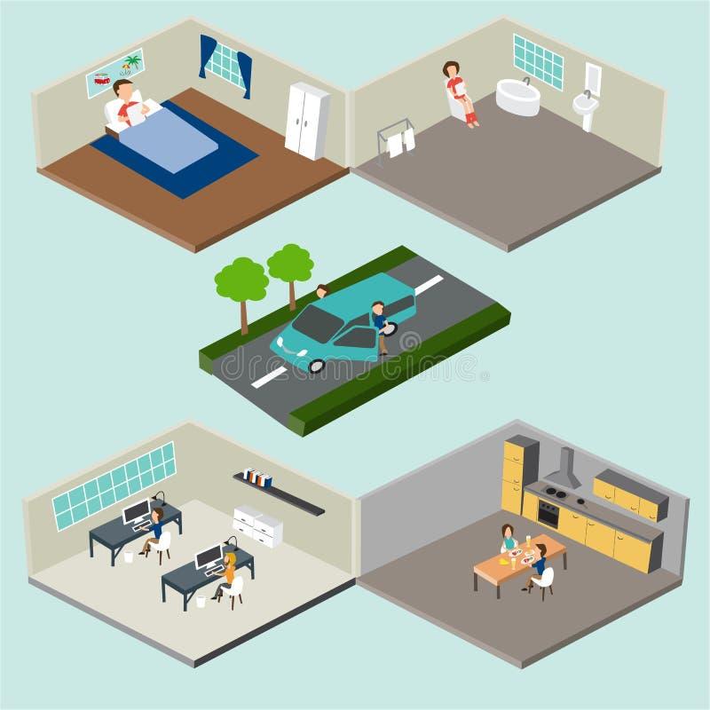 Het vlakke 3d isometrische abstracte huis en bureauvloerbinnenland vertrekt stock illustratie