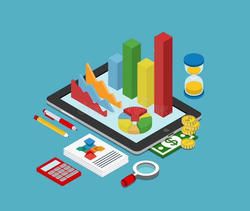 Het vlakke 3d isometrische concept van bedrijfsfinanciën grafische analytics vector illustratie