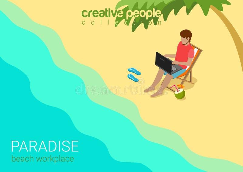 Het vlakke 3d isometrische vector tropische de werkplaatswerk van het strandparadijs royalty-vrije illustratie