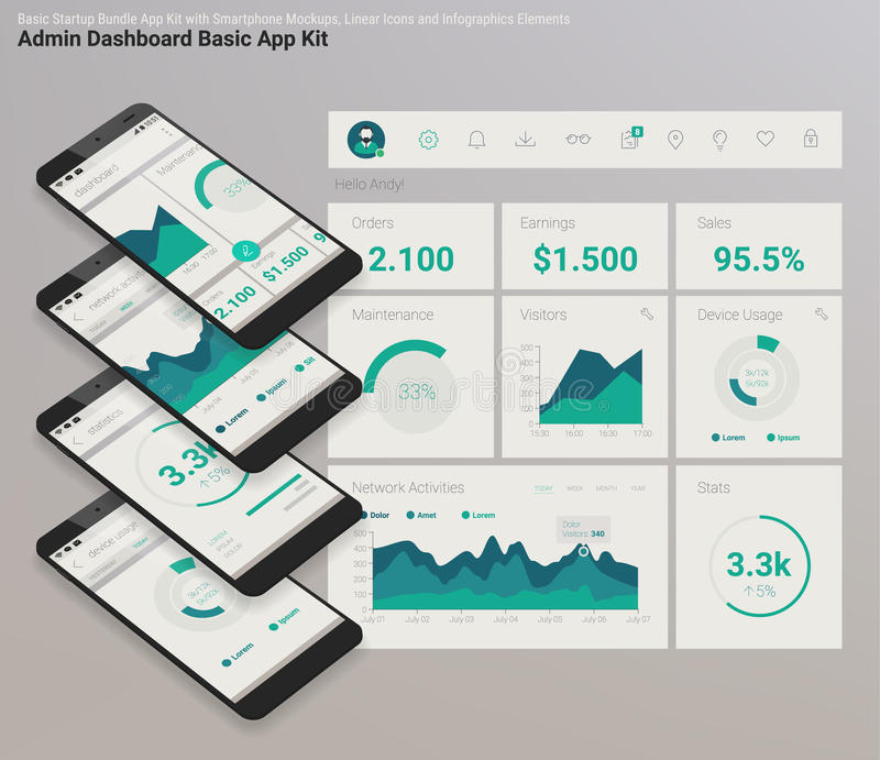 Het vlakke Dashboard UI mobiele app van ontwerp ontvankelijke Admin met 3d modellen royalty-vrije illustratie