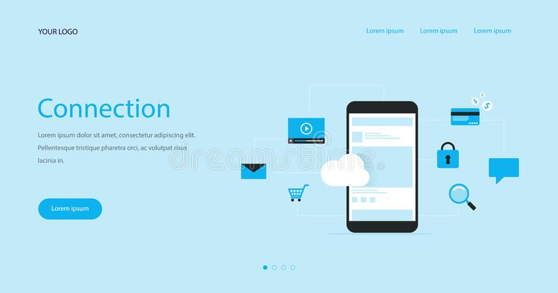 Het vlakke de kopbalontwerp van het illustratieweb met ontwerp voor mobiele toepassing verbindt op wolk netwok royalty-vrije illustratie