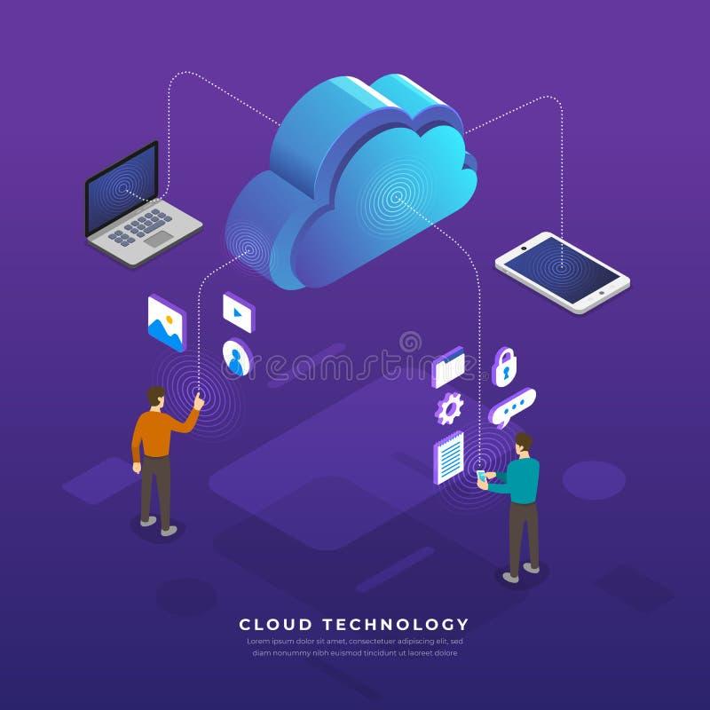 Het vlakke de wolk van het ontwerpconcept de gebruikersnetwerk van de gegevensverwerkingstechnologie bedriegt royalty-vrije illustratie