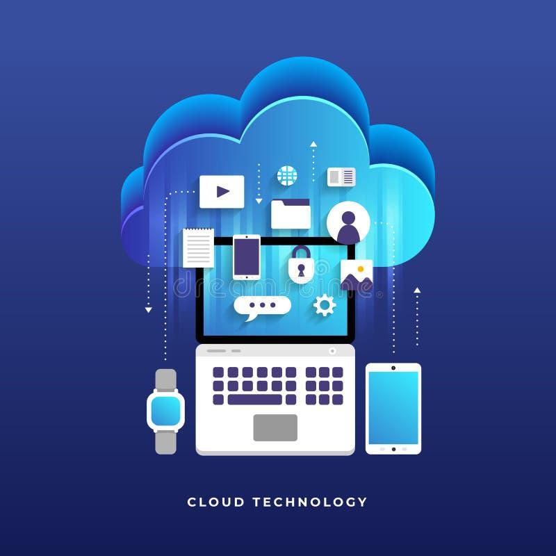 Het vlakke de wolk van het ontwerpconcept de gebruikersnetwerk van de gegevensverwerkingstechnologie bedriegt vector illustratie