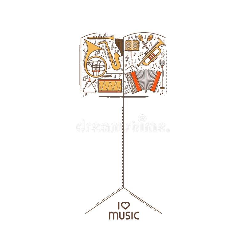 Het vlakke die pictogram van de lijnmuziek in de vorm van de muziektribune wordt geplaatst Binnen archief kunt u dossiers in derg stock illustratie