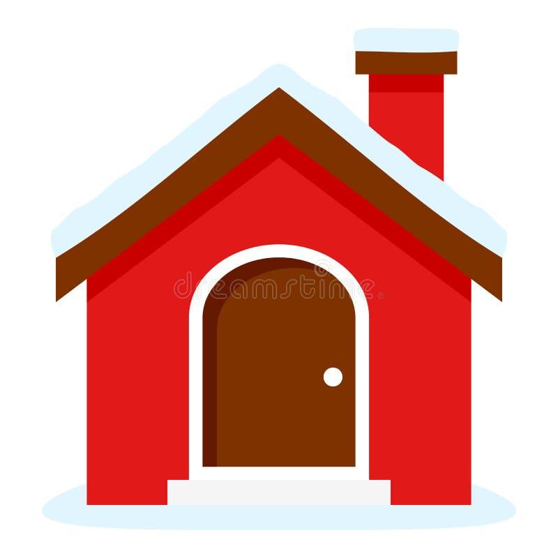 Het Vlakke die Pictogram van het Kerstmishuis op Wit wordt geïsoleerd stock illustratie