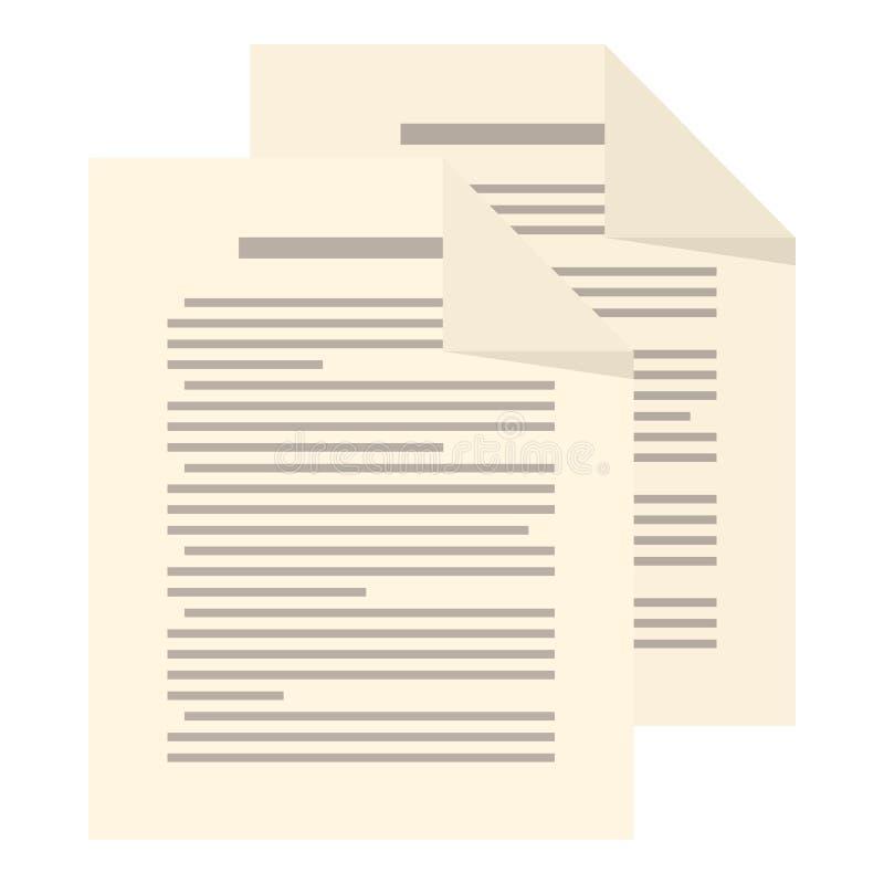 Het Vlakke die Pictogram van paginabladen op Wit wordt geïsoleerd vector illustratie