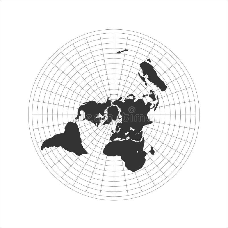 Het vlakke embleem van de Aardekaart Vector illustratie stock illustratie