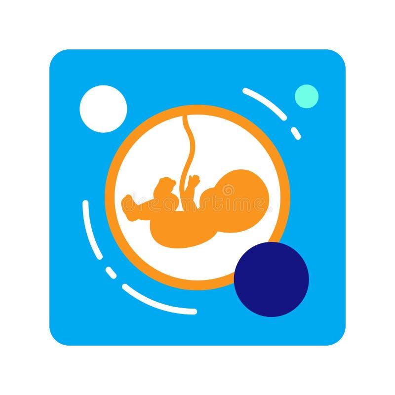 Het vlakke embryo van het kleurenpictogram Concept zwangerschap Geïsoleerde vlakke tekening, illustratie vector illustratie