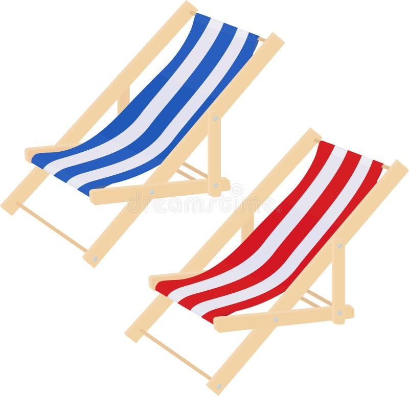 Het vlakke gestreepte die strand sunbed het hout van de lanterfanterstoel op wit wordt geïsoleerd Vector illustratie royalty-vrije illustratie