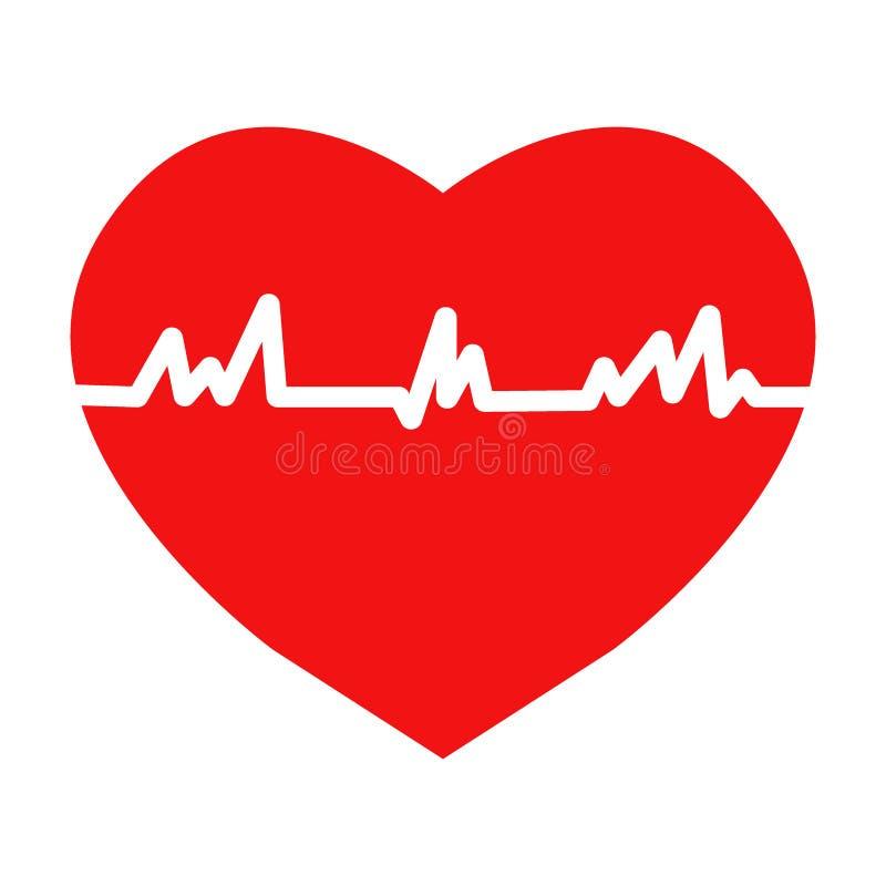 Het vlakke in hart sloeg pictogram met ecg vector illustratie
