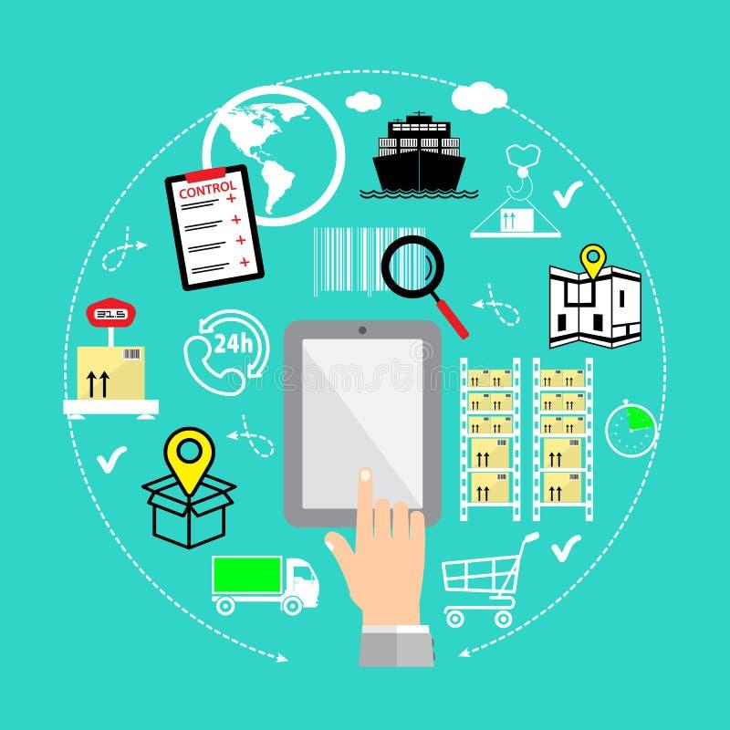 Het vlakke infographic concept van de ontwerp moderne illustratie het kopen van product via Internet stock illustratie