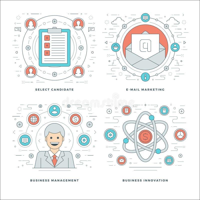 Het vlakke lijnbeheer, Werknemersonderzoek, E-mail Marketing, Bedrijfsconcepten plaatste Vectorillustraties royalty-vrije illustratie