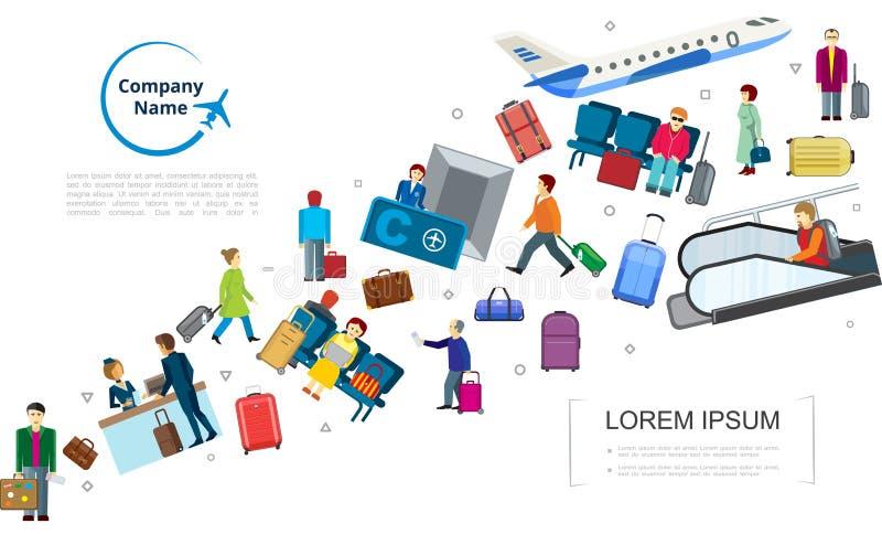 Het vlakke Malplaatje van de Luchtreis stock illustratie