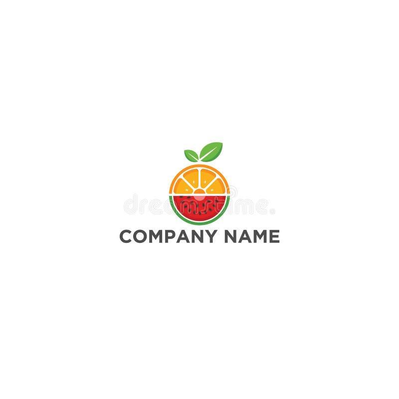 Het vlakke malplaatje van het het embleemontwerp van de Fruitmengeling stock illustratie