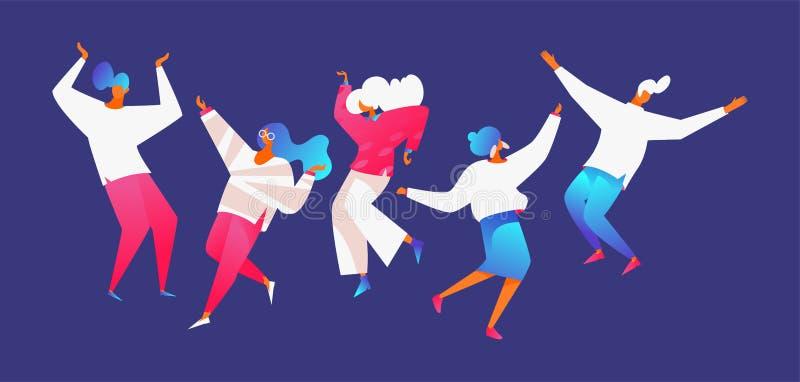 Het vlakke moderne groep mensen dansen De mannen en de vrouwen in dynamisch stellen op blauwe achtergrond Levendige roze gradiënt royalty-vrije illustratie