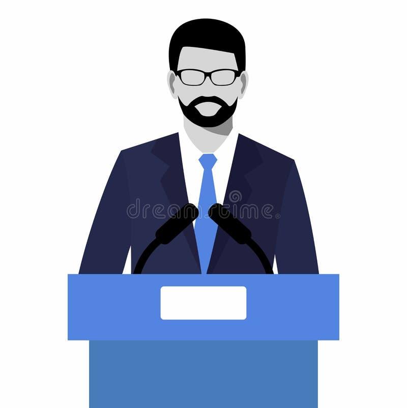 Het vlakke moderne ontwerp die van Zakenman een presentatie geven woordvoerder het spreken stock illustratie