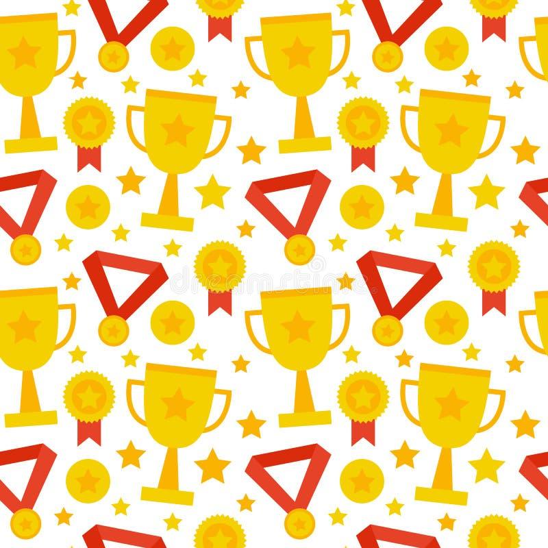 Het vlakke Naadloze de Concurrentietrofee van de Patroonsport Winnen royalty-vrije illustratie
