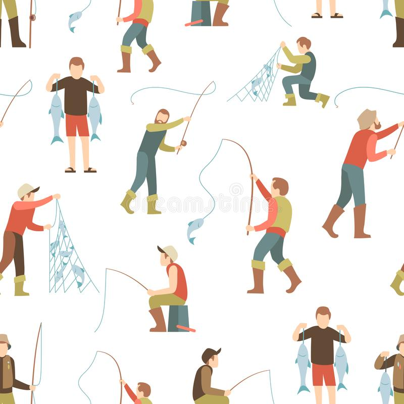 Het vlakke naadloze patroon van de vissersmens Visserijachtergrond met de mensen van het beeldverhaalkarakter royalty-vrije illustratie