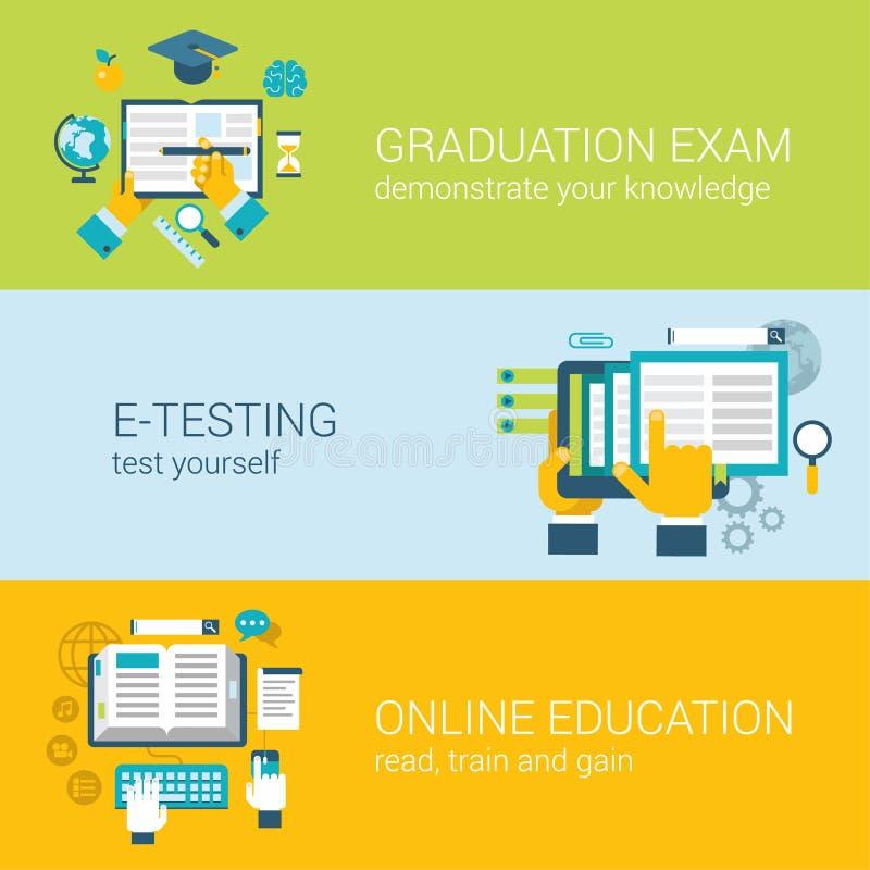 Het vlakke online onderwijs infographic concept van het e-lerende studieexamen royalty-vrije illustratie