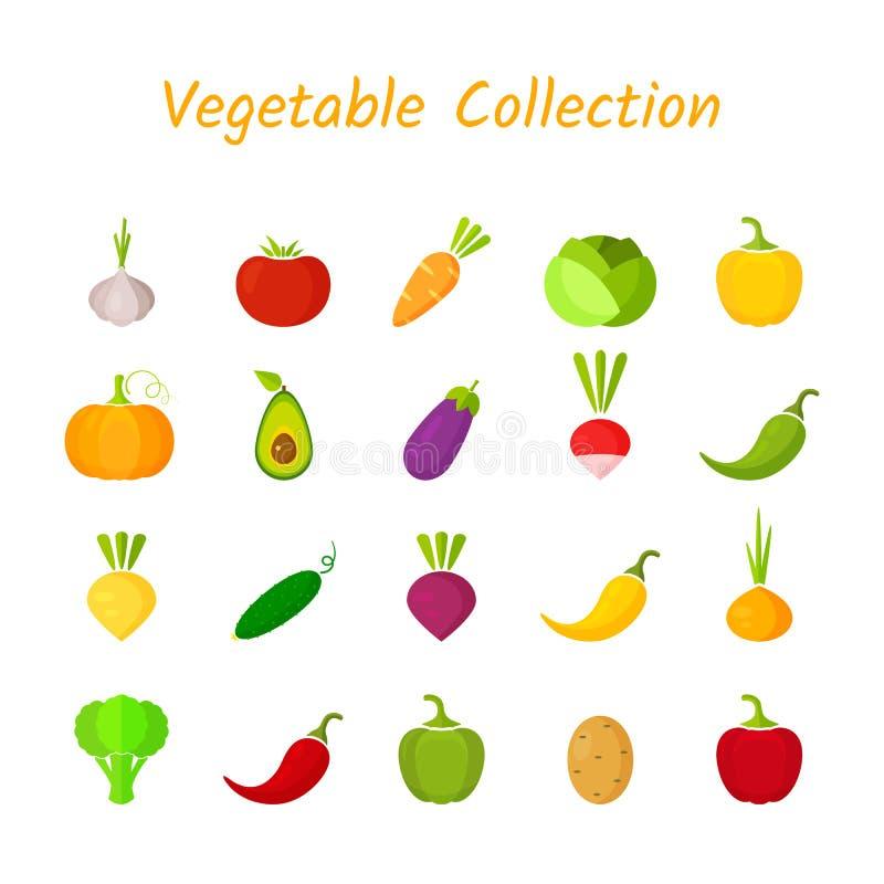 Het vlakke ontwerp isoleerde kleurrijke plantaardige pictogramreeks vector illustratie