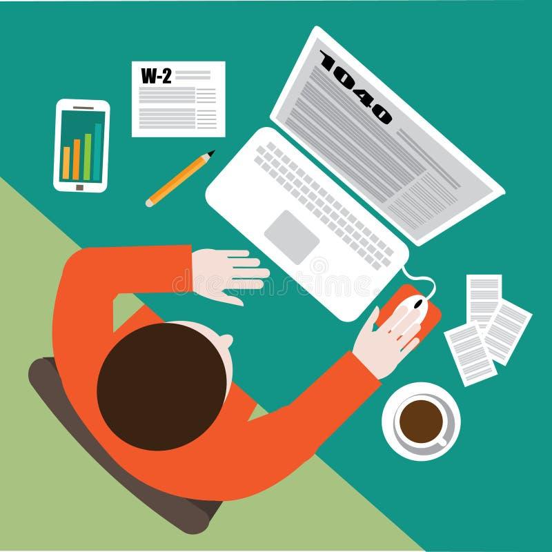 Het vlakke ontwerp van de belastingsdag Het invullen van de inkomstenbelastingsvoorbereiding van belastingsvormen op de computer royalty-vrije illustratie