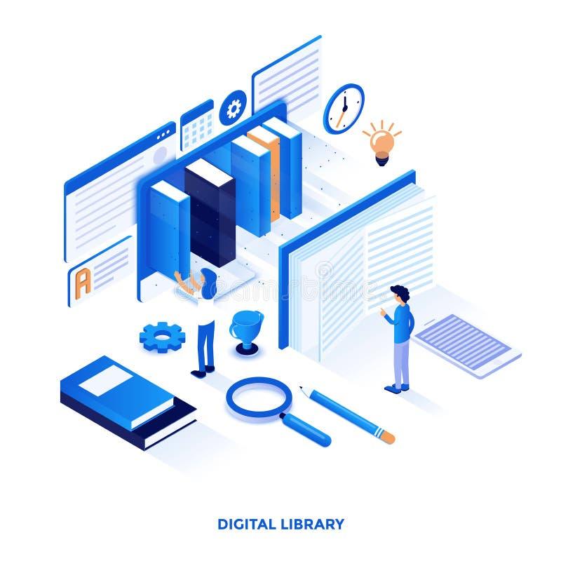Het vlakke ontwerp van de kleuren Moderne Isometrische Illustratie - Digitale Bibliotheek stock illustratie