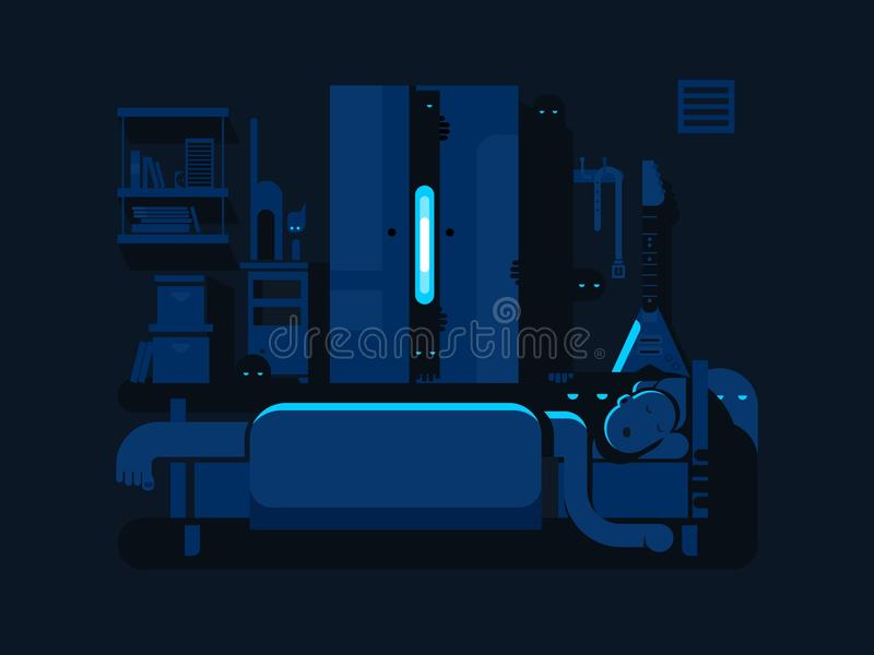 Het vlakke ontwerp van de slaapkamermysticus stock illustratie