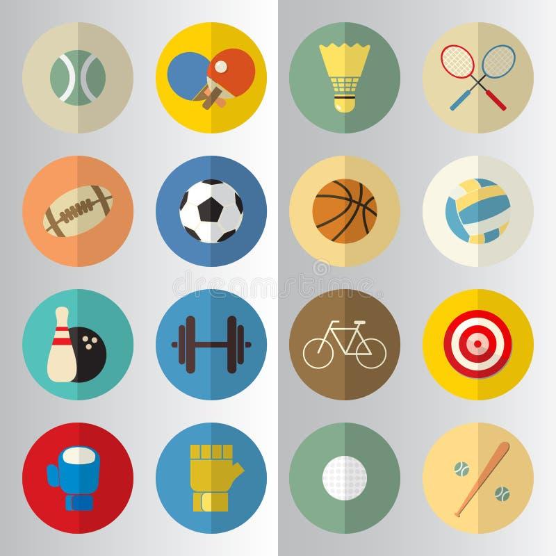 Het vlakke ontwerp van de sporthelft sneed pictogrammen stock illustratie