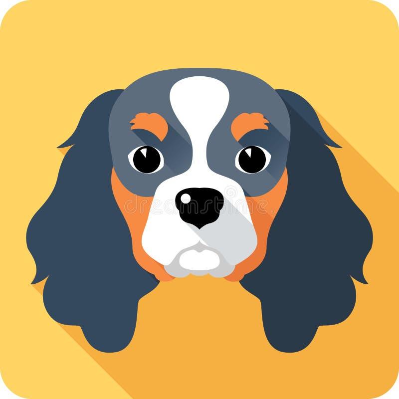 Het vlakke ontwerp van het hondpictogram royalty-vrije illustratie